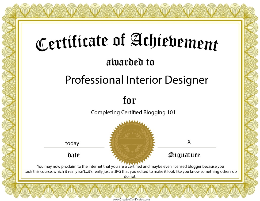 certificate of interior design.  Certificate Certificateofachievementtemplate INTERIOR DESIGN CERTIFICATION Intended Certificate Of Interior Design