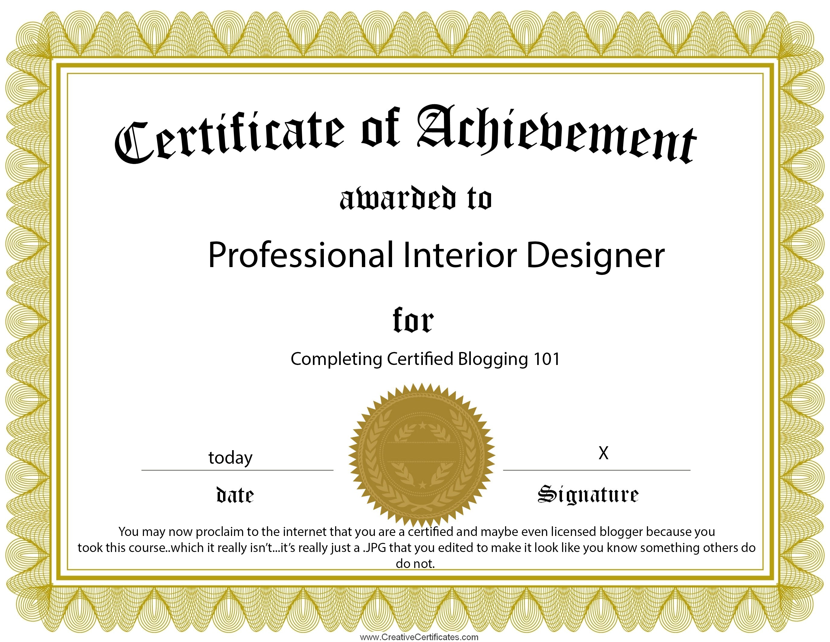 Good ... Certificate Of Achievement Template. INTERIOR DESIGN CERTIFICATION Amazing Pictures